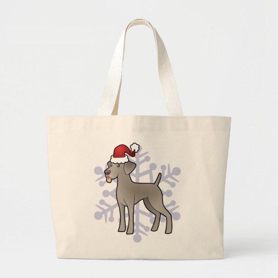 Navidad Weimaraner Bolsa De Tela Grande