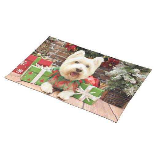Navidad - Westie - afortunado Mantel Individual