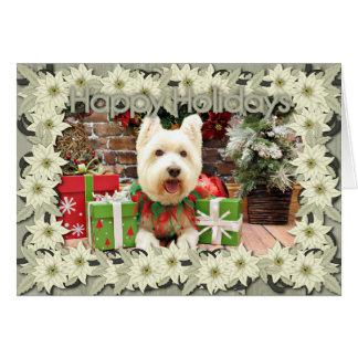 Navidad - Westie - afortunado Tarjeta De Felicitación