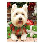 Navidad - Westie - afortunado Tarjeta Postal