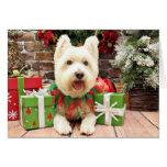 Navidad - Westie - afortunado Tarjetas