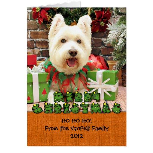 Navidad - Westie - afortunado Tarjetón