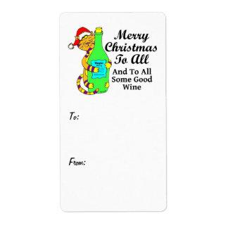 """Navidad Winey del gato """"… y a todo un poco de buen Etiquetas De Envío"""