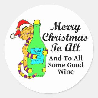 """Navidad Winey del gato """"… y a todo un poco de buen Pegatinas Redondas"""