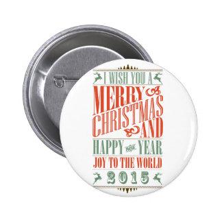 Navidad y Año Nuevo 2015 de Chalkboad del vintage Pin Redondo De 2 Pulgadas