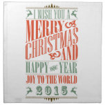 Navidad y Año Nuevo 2015 de Chalkboad del vintage Servilleta