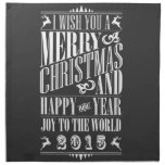 Navidad y Año Nuevo 2015 de Chalkboad del vintage Servilleta De Papel