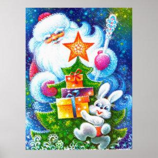Navidad y conejito del padre póster