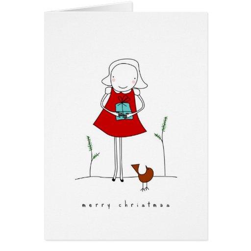 navidad y el chica tarjeta de felicitación