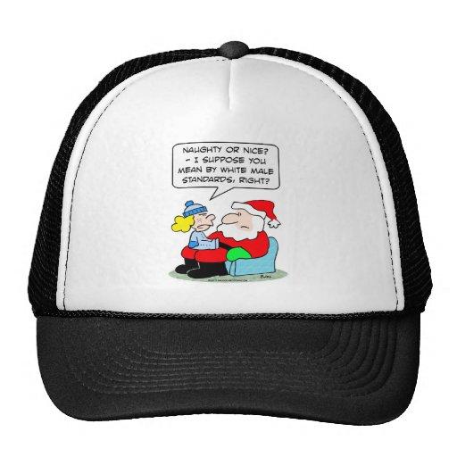Navidad y estándares masculinos blancos gorras de camionero