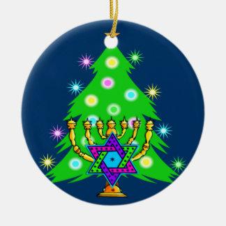 Navidad y Jánuca junto Ornamento De Reyes Magos