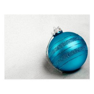Navidad y ornamento azul del día de fiesta de Jánu Tarjeta Postal