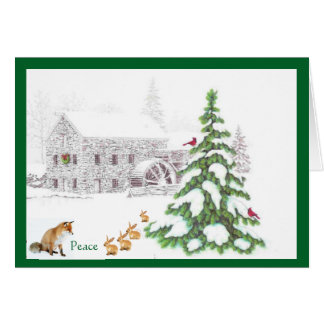 Navidad y paz tarjeta pequeña