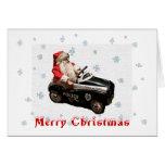 Navidad y tarjeta de coche policía de Santa