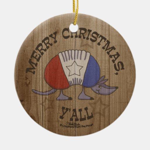 Navidad Y'al del rojo, blanco y azul Armadillo-Fel Ornamento De Navidad