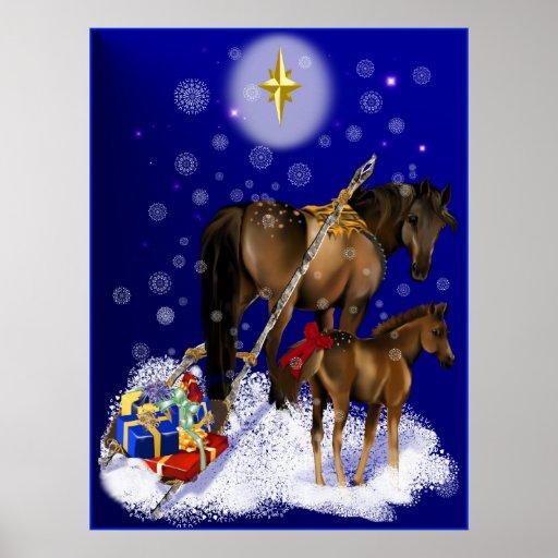 Navidad yegua y poster del potro