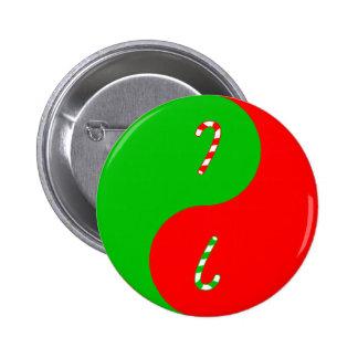 Navidad Yin Yang Pin Redondo De 2 Pulgadas