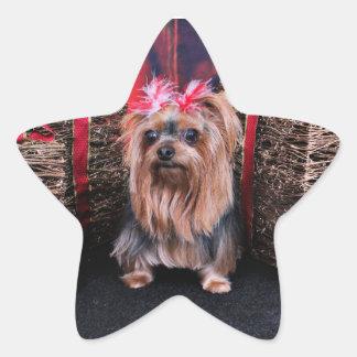 Navidad - Yorkie - leus de T Pegatina En Forma De Estrella
