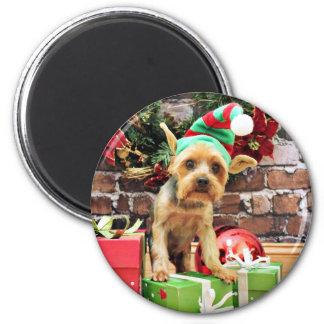 Navidad - Yorkie - peluche Imán Para Frigorifico