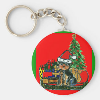 Navidad Yorkie Poo Llavero Redondo Tipo Pin