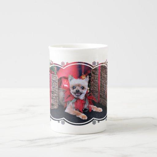 Navidad - Yorkie X - afortunado Taza De Porcelana