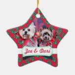 Navidad - Yorkie - Zoe y Dori Adorno De Cerámica En Forma De Estrella