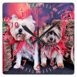 Navidad - Yorkie - Zoe y Dori Reloj De Pared
