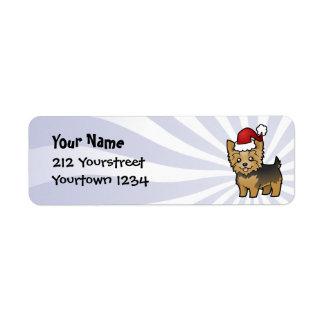 Navidad Yorkshire Terrier (pelo corto con el arco) Etiquetas De Remite