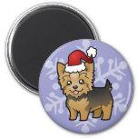 Navidad Yorkshire Terrier (pelo corto con el arco) Imanes De Nevera