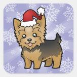 Navidad Yorkshire Terrier (pelo corto con el arco) Colcomanias Cuadradases