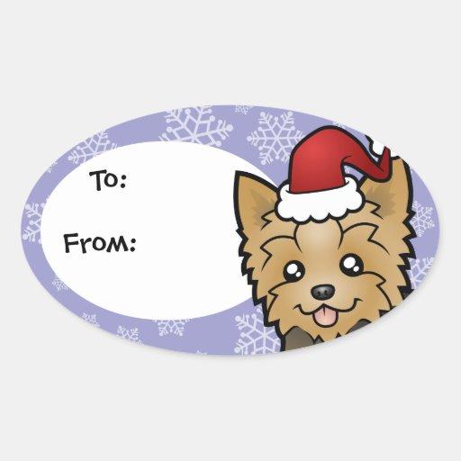 Navidad Yorkshire Terrier (pelo corto con el arco) Pegatinas Ovales