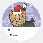 Navidad Yorkshire Terrier (pelo corto con el arco) Etiquetas Redondas