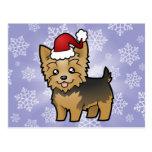 Navidad Yorkshire Terrier (pelo corto con el arco) Postal