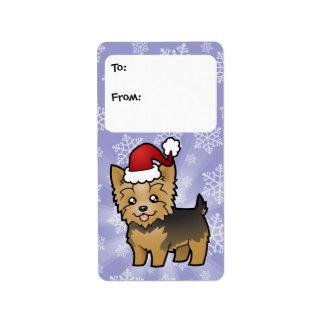Navidad Yorkshire Terrier (pelo corto y arco) Etiquetas De Dirección