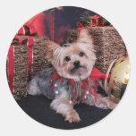 Navidad - Yorkshire Terrier - Vinnie Pegatina