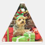 Navidad - Yorkshire Terrier - Vinnie Pegatina Triangulo Personalizadas