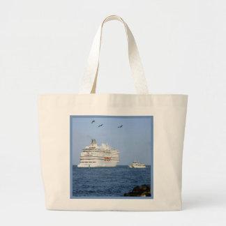 Navigating the Seas Blue Border Jumbo Tote Bag