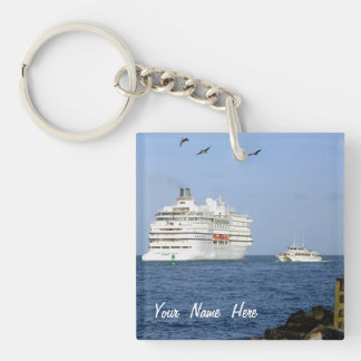 Navigating the Seas Personalized Double-Sided Square Acrylic Keychain