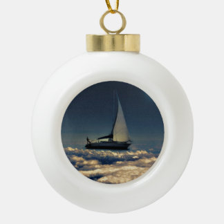 Navigating Trough Clouds Dreamy Collage Ceramic Ball Christmas Ornament