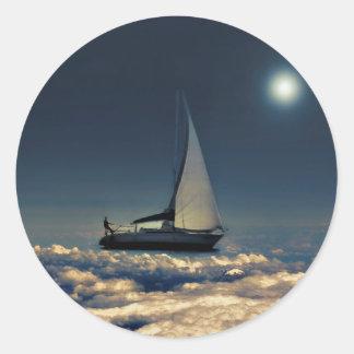 Navigating Trough Clouds Dreamy Collage Classic Round Sticker