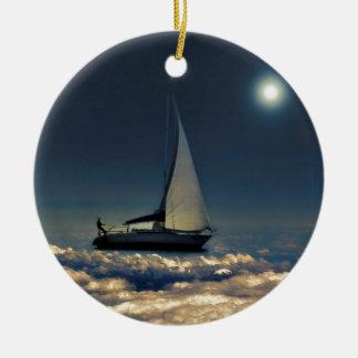 Navigating Trough Clouds Dreamy Collage Photo Ceramic Ornament