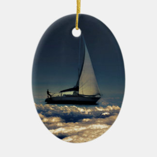 Navigating Trough Clouds Dreamy Collage Photo Christmas Ornament