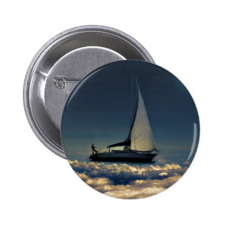 Navigating Trough Clouds Dreamy Collage Photo Pinback Button