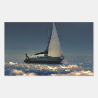 Navigating Trough Clouds Dreamy Collage Photo Rectangular Sticker