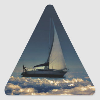 Navigating Trough Clouds Dreamy Collage Photo Triangle Sticker