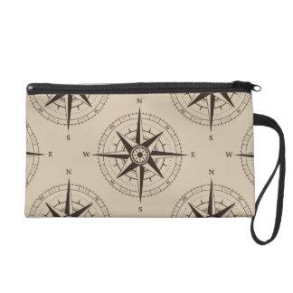 Navigation Compass Pattern Wristlet Clutch