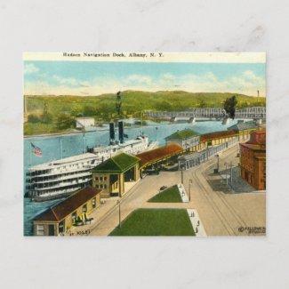 Navigation Dock, Albany NY 1924 vintage postcard