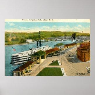 Navigation Dock, Albany NY 1924 vintage print