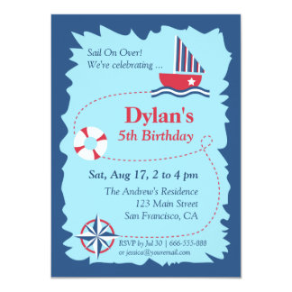 Navigation Map, Nautical Birthday Party Card