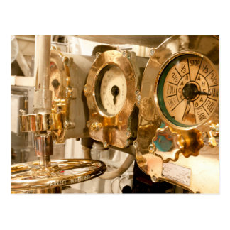 Navigational Gauges And Instruments On Submarine Postcard